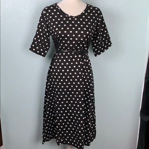 Black & White Polka Dot Midi Dress 20PE